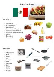 English Worksheet: Mexican Tacos Recipe