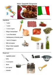 English Worksheet: Italian Spaghetti Bolognaise recipe