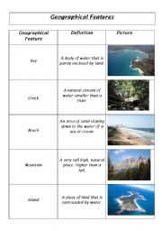 English Worksheet: Geographical features (part1)
