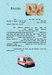 English Worksheets: Rescue - writing
