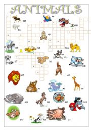 English Worksheets: ANIMALS//CROSSWORD PUZZLE