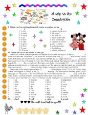 English Worksheet: A trip to the countryside