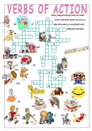 English Worksheet: VERBS OF ACTION//CROSSWORD PUZZLE