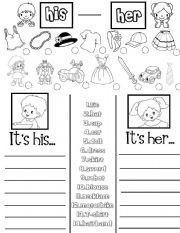 English worksheet: His -Her (practice sheet)