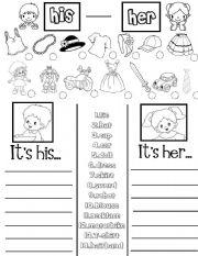English Worksheet: His -Her (practice sheet)