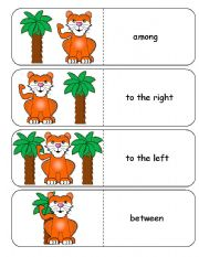 English Worksheets: Where is the Tiger Preposition Dominoes and Memory Cards Part 1 of 3