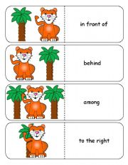 English Worksheet: Where is the Tiger Preposition Dominoes and Memory Cards Part 2 of 3