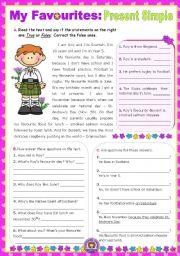 English Worksheet: My Favourites  -   Reading  +  Writing