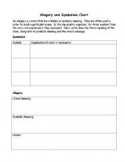 English Worksheets: Symbolism Chart
