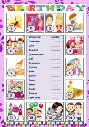 English Worksheet: all about birthday