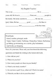 guided writing my english teacher esl worksheet by ottovin. Black Bedroom Furniture Sets. Home Design Ideas