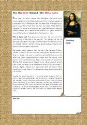 English Worksheet: Mystery Behind Mona Lisa Smile