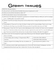English Worksheets: green issues