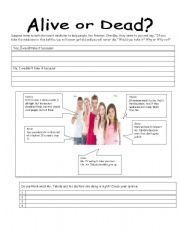 English Worksheets: alive or dead