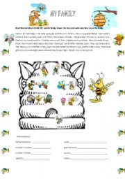 English Worksheet: MY BEE FAMILY
