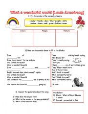 English Worksheets: What a wonderful world (Louis Armstrong) song with exercises and answer key