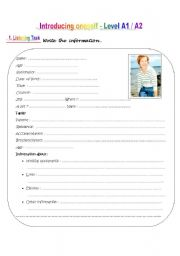 English Worksheet: INTRODUCING ONESELF - Level A1 / A2
