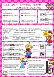 English Worksheets: MUCH-MANY-TOO MUCH-TOO MANY-HOW MUCH-HOW MANY