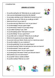 Vocabulary worksheets > Hobbies > Leisure time activities