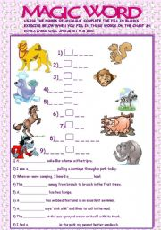 English Worksheets: MAGIC WORD//ANIMALS