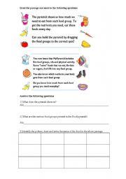 English worksheet: Food pyramid