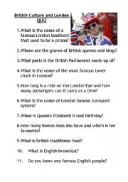 English Worksheet: British Culture and London QUIZ with KEY!
