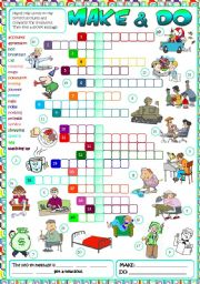 English Worksheets: Make & Do - CROSSWORD (B&W + KEY included)