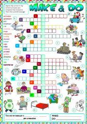 English Worksheet: Make & Do - CROSSWORD (B&W + KEY included)
