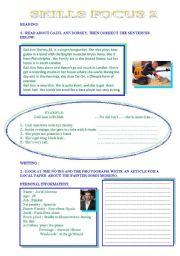 English Worksheets: SKILLS FOCUS 2