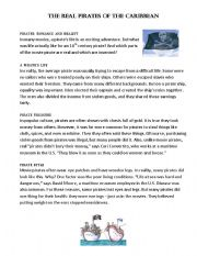 English Worksheet: Reading: The real pirates of the Caribbean