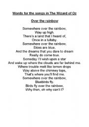 English Worksheet: Words from the songs in Wizard of Oz