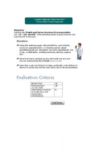 English Worksheets: A Great Memory From The Past Taped Assignment (3 editable pages)