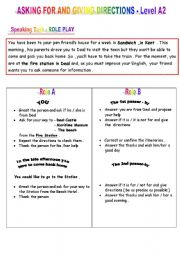 English Worksheet: ASKING FOR AND GIVING DIRECTIONS - Level A2