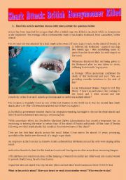 English Worksheets: Shark attack - Reading/writing and listening activities & Answer key