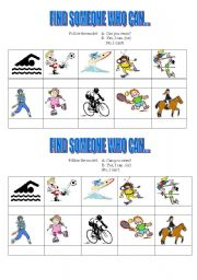 English Worksheet: Find someone who can: sports