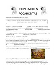 English Worksheet: Early settlement in the USA. John Smith and Pocahontas