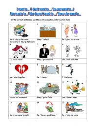 English Worksheet: VERB PATTERNS  2 PAGES