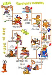 English Worksheet: Garfield boardgame with the verb CAN
