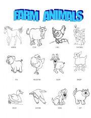 English Worksheet: Farm animals pictionary