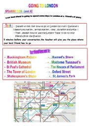 English Worksheet: GOING TO LONDON - Level A2/ B1
