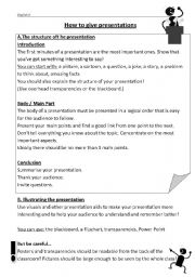 English worksheet: How to present in English