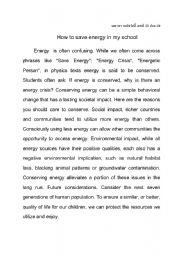 English Worksheet: Energy saving essay