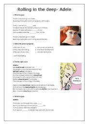 English Worksheets: Rolling in the Deep - Adele - Worksheet