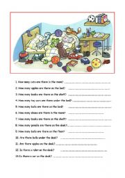 English Worksheet: How many....?