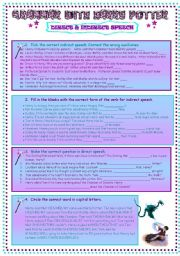 English Worksheets: REPORTED SPEECH WITH HARRY POTTER