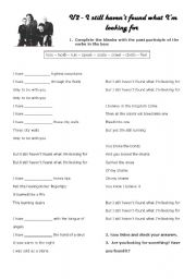 English Worksheet: I still haven´t found what I´m looking for - U2