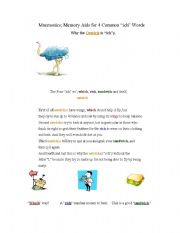 English Worksheets: Mnemonics; Memory Aid for 4 Common