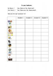 English worksheet: Bedroom speaking