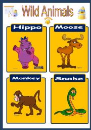 English Worksheets: Wild Animals Flashcards 1