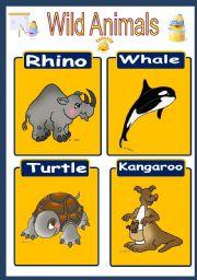 English Worksheets: Wild Animals Flashcard 3